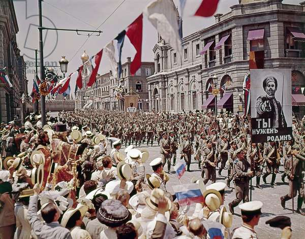 FILM: DOCTOR ZHIVAGO, 1965 Military parade in Moscow or St. Petersburg shortly before the Russian Revolution. Scene from 'Doctor Zhivago' directed by David Lean, 1965, after the novel by Boris Pasternak.