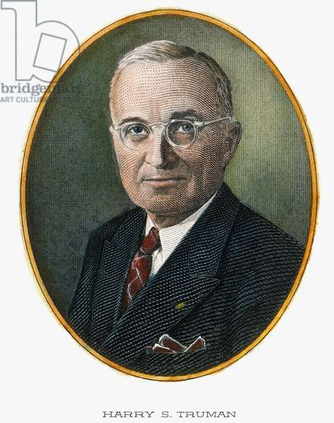 HARRY S. TRUMAN (1884-1972) Contemporary color engraving.