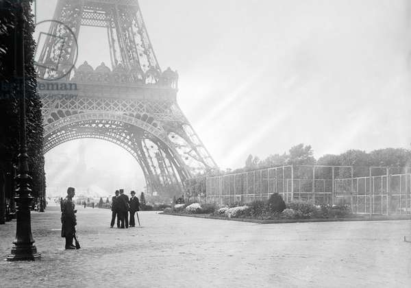 WWI: EIFFEL TOWER, c.1914 A soldier guards the wireless station at the Eiffel Tower in Paris, France. Photograph, c.1914.