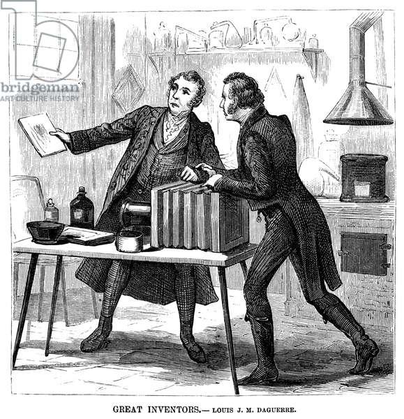 LOUIS DAGUERRE (1789-1851) Louis Jacques Mande Daguerre. French painter and inventor. Wood engraving, American, 1881.