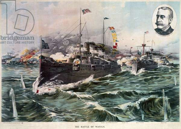SPANISH-AMERICAN WAR, 1898 The Battle of Manila Bay, 1 May 1898. The USS Olympia (center), followed by the USS Raleigh, USS Baltimore, and the USS Boston, and an inset portrait of Commodore George Dewey. Contemporary American lithograph.