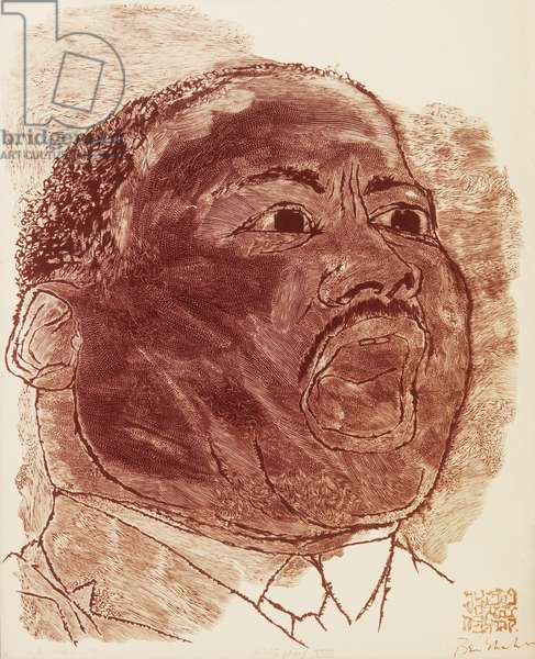 MARTIN LUTHER KING, JR (1929-1968). American clergyman and reformer. Wood engraving, 1966, by Stefan Martin after Ben Shahn.