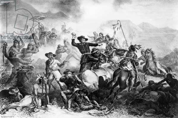 LITTLE BIGHORN, 1876 General Custer's death struggle at the Battle of Little Big Horn, 25 June 1876. Lithograph, 1878, after H. Steinegger.
