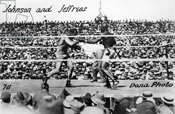 JOHNSON VS. JEFFRIES, 1910 American heavyweight pugilist Jack Johnson (right) fighting James J. Jeffries on 4 July 1910 in Reno, Nevada.
