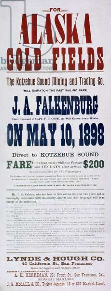 ALASKA GOLD RUSH, 1898 Poster.
