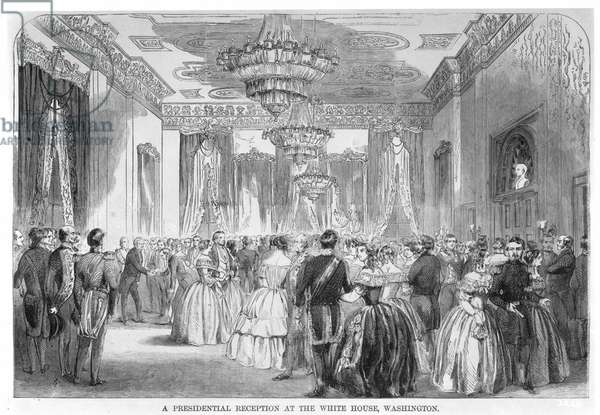 BUCHANAN: RECEPTION, 1858 A presidential reception at the White House during the administration of James Buchanan, 1858: contemporary wood engraving.
