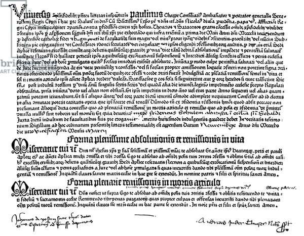 LETTER OF INDULGENCE, 1455 A letter of Indulgence (Ablass-brief) printed in 1455 by Johann Gutenberg on his first press.