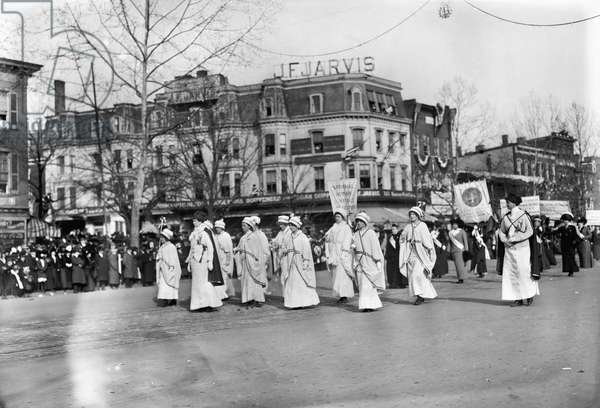 SUFFRAGE PARADE, 1913 Women of the 'National Woman Suffrage Assocation' at the women's suffrage parade held in Washington, D.C, 3 March 1913.