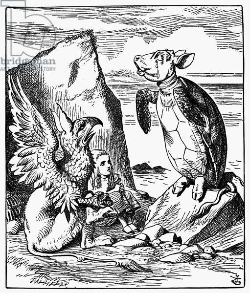 CARROLL: ALICE, 1865 Alice and the Gryphon listen to the Mock Turtle's story. Wood engraving after Sir John Tenniel for the first edition of Lewis Carroll's 'Alice's Adventures in Wonderland,' 1865.
