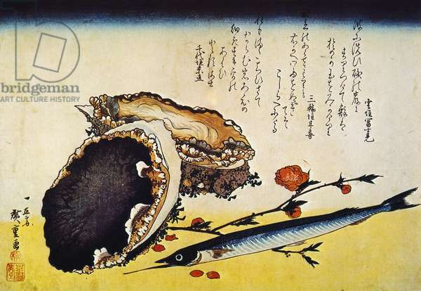 HIROSHIGE: COLOR PRINT Awabi and Sayori (Oyster and Snipe-fish): Japanese Oban color print, 1832, by Hiroshige.