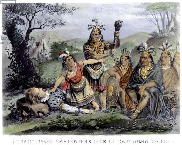 POCAHONTAS (1595-1617) Native American Princess. Pocahontas saving the life of Captain John Smith, late December 1607. Lithograph, American, 1870.