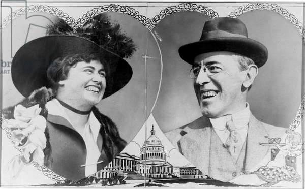 WOODROW & EDITH WILSON Portraits of President Woodrow Wilson and his wife, Edith Bolling Galt Wilson, c.1915.