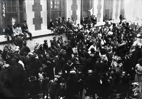 ELLIS ISLAND: IMMIGRANTS Congestion of immigrants at Ellis Island, New York City. Photograph, 24 September 1920.