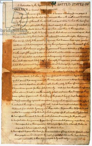 DECLARATION OF INDEPENDENCE A draft of the Declaration of Independence prepared by Thomas Jefferson for a friend after Congress had approved the text on 2 July 1776.