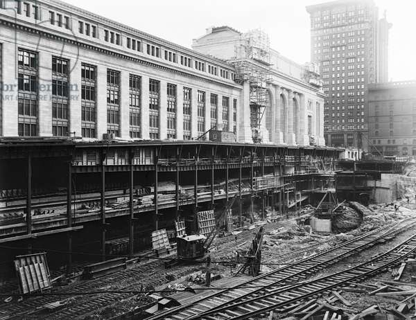 GRAND CENTRAL STATION Construction on Grand Central Station in New York City. Photograph, c.1908.
