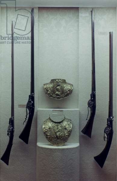 BREASTPLATE, 17th CENTURY Breastplate of Louis XIII and flint-lock muskets and rifles from the Royal armory of Louis XIV.