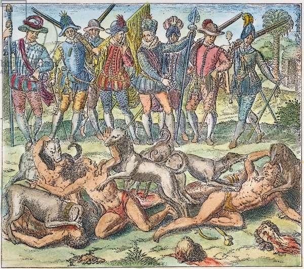 VASCO NUNEZ de BALBOA (1475-1519). Spanish explorer. Balboa ordering native Indians to be torn to pieces by dogs. Copper engraving, 16th century.