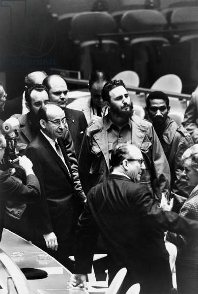 FIDEL CASTRO (1926- ) Cuban revolutionary leader. Castro (with beard) at a meeting of the United Nations General Assembly in New York City, 22 September 1960. Photographed by Warren K. Leffler.