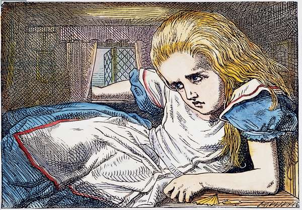 ALICE IN WONDERLAND, 1865 Alice grows out of the room.Illustration by John Tenniel from the first edition of Lewis Carroll's 'Alice's Adventures in Wonderland,' 1865.