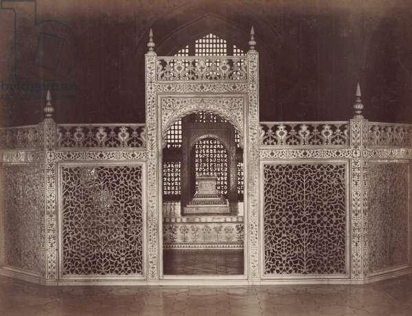 INDIA: TAJ MAHAL, c.1890 Interior of the Taj Mahal. Marble trellis-work surrounding the tomb of Mumtaz Mahal. Photographed, c.1890.
