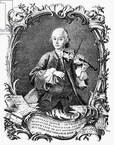 LEOPOLD MOZART (1719-1787) German violinist, composer, and teacher; father of Wolfgang Amadeus Mozart. Line engraving, 1756, by Jacob Andreas Fridrich.