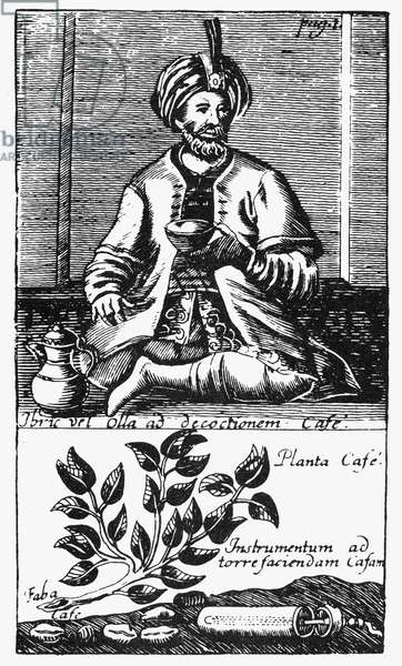 TURKEY: COFFEE, 1688 A Turkish man drinking coffee. A Turkish coffee mill lies beside the coffee plant in the lower panel of the image. Line engraving, German, 1688.