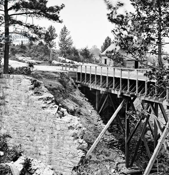 CIVIL WAR: AQUEDUCT, 1865 Canal aqueduct in Petersburg, Virginia. Photograph, 1865.