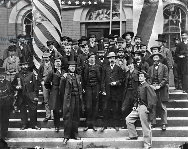 CIVIL WAR: WAR DEPARTMENT Group of War Department employees photographed outside the War Department building in Washington, D.C., 1865.