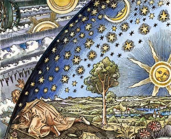 ASTRONOMER, 1530 Medieval astrologer attempting to discover the secrets behind the Milky Way. coloured  woodcut, Swiss or German, early 16th century.