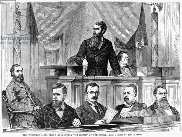 ELECTORAL COMMISSION, 1877 'The Florida Case.' Presiding Senator Thomas Ferry announcing the Commission's decision, February 1877, to award twenty disputed electoral votes, and the 1876 Presidential election, to the Republican candidate, Rutherford B. Hayes. Contemporary American engraving.