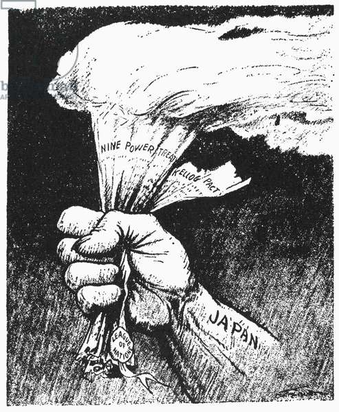 CARTOON: JAPAN, 1933 'The Light of Asia.' Pulitzer Prize-winning cartoon by H. M. Talburt on Japan's aggression in Asia and flagrant disregard for the League of Nations, the Nine-Power treaty of 1922, and the Kellogg-Briand Pact of 1928. Cartoon, 1933.