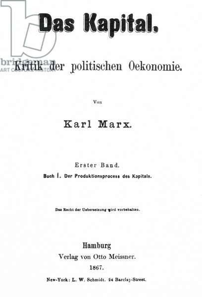 KARL MARX: DAS KAPITAL Title-page of the first edition of Karl Marx's 'Das Kapital,' 1867.
