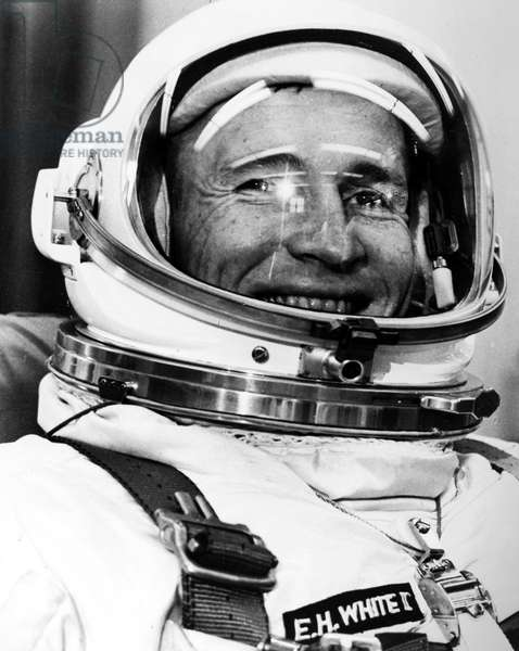 EDWARD WHITE (1930-1967) Astronaut Edward White suited up and ready for the launch of the Gemini IV spacecraft, 3 June 1965.