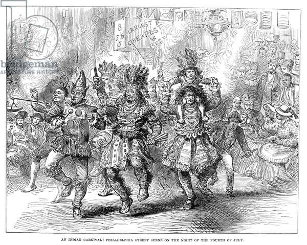 CENTENNIAL PARADE, 1876 Carnival performers at the Centennial parade by torchlight through Philadelphia, Pennsylvania, 4 July 1876. Contemporary English engraving.