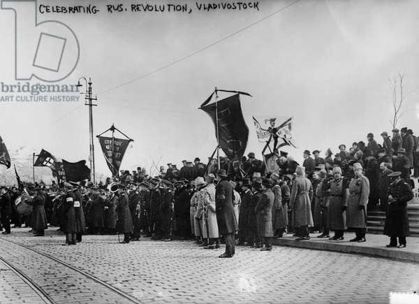 RUSSIAN REVOLUTION A crowd of people at a celebration of the Russian Revolution in Vladivostok, Russia. Photograph, early 20th century.
