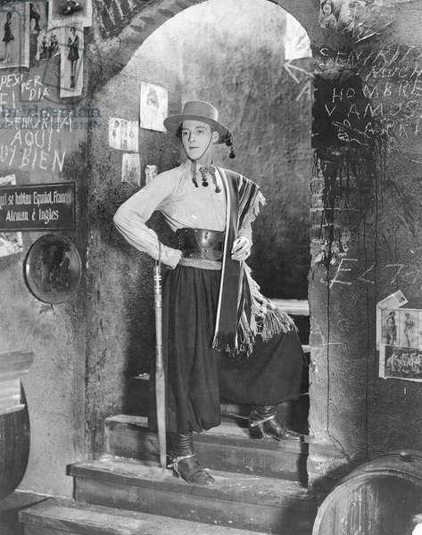 RUDOLPH VALENTINO (1895-1926). American (Italian-born) film actor. Valentino in his opening scene from the film 'The Four Horsemen of the Apocalypse,' 1921.