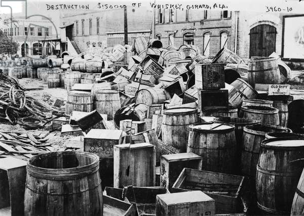 PROHIBITION, 1920s The destruction of ,000 of whiskey in Girard, Alabama, during Prohibition, 1920s.