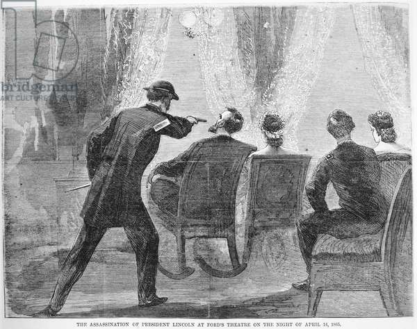 LINCOLN ASSASSINATION The assassination of President Abraham Lincoln by John Wilkes Booth at Ford's Theatre, Washington, D.C., 14 April 1865. Wood engraving from a contemporary newspaper.