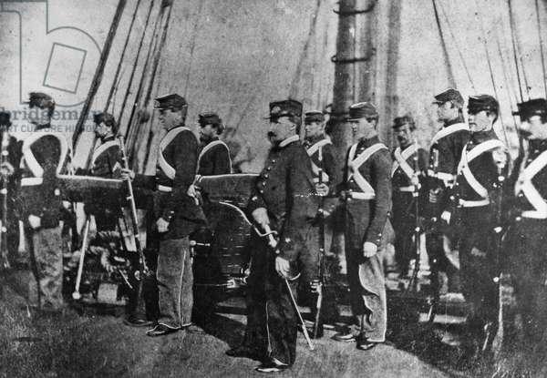 CIVIL WAR: USS KEARSARGE U.S. Marines on the deck of the U.S.S. Kearsarge during the American Civil War. Photographed c.1864.