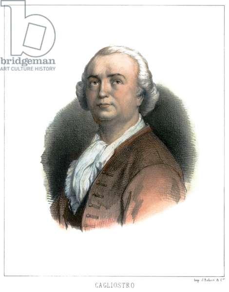 COUNT CAGLIOSTRO (1743-1795). Alessandro Conte di Cagliostro. Italian adventurer. Lithograph, French, 19th century.