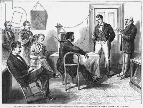 ALEXANDER GRAHAM BELL. Auditors at the Boston end of the Salem-Boston, Massachusetts, demonstration by Alexander Graham Bell of his telephone on March 15, 1877.