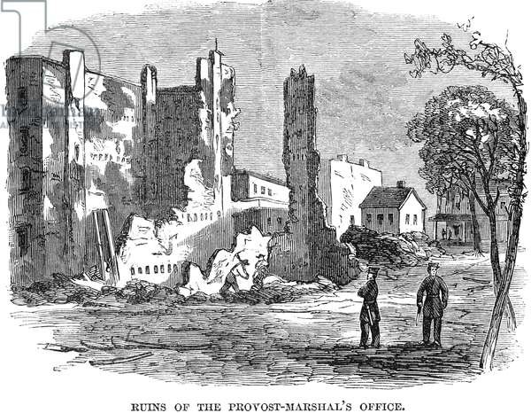 CIVIL WAR: DRAFT RIOTS Ruin of the Provost-Marshal's Office following the New York City Draft Riots of July 13-16, 1863. Wood engraving from a contemporary American newspaper.
