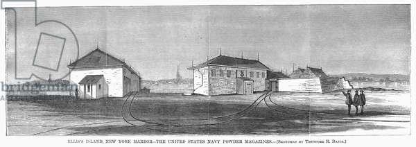 NEW YORK: ELLIS ISLAND U.S. Navy powder magazines at Ellis Island, New York Harbor. Wood engraving, 1868.