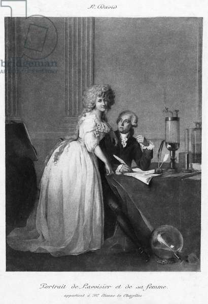 ANTOINE LAURENT LAVOISIER (1743-1794). French chemist. With his wife, Mme. Lavoisier. Gravure after a painting, 1788, by Jacques Louis David (1748-1825).