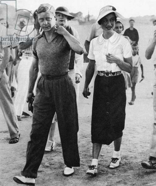 DUKE & DUCHESS OF WINDSOR King Edward VIII and Mrs. Wallis Simpson on holiday in Trogir, Yugoslavia, before he abdicated the throne to marry. Photograph, 1936.