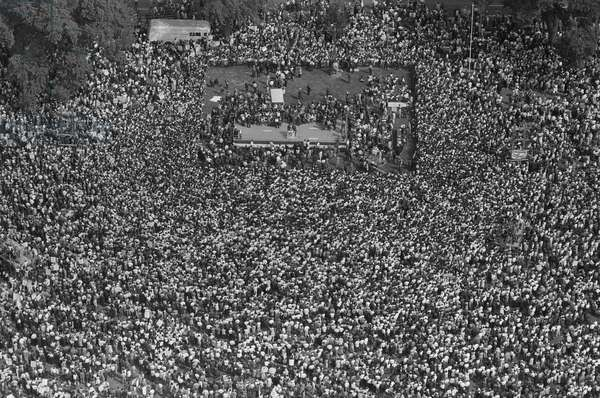 MARCH ON WASHINGTON, 1963 An aerial view of the crowd and the stage at the March on Washington. Photograph by Marion S. Trikosko, 28 August 1963.