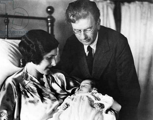 JOHN LOGIE BAIRD (1888-1946) Scottish engineer and an inventor of the television. Photographed with his wife Margaret and their baby daughter Diana, 1932.