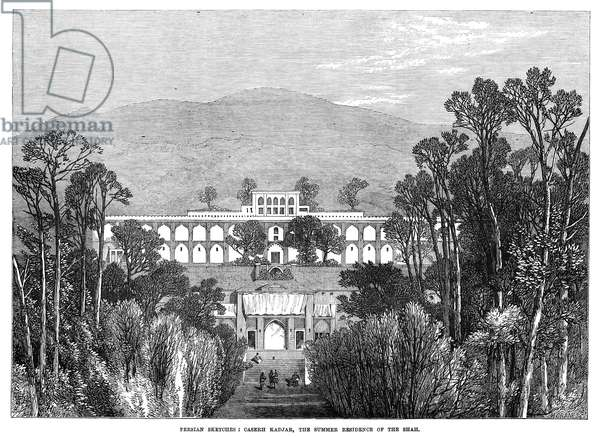 PERSIA: SUMMER PALACE, 1873 Caserh Kadjar, the summer residence of the Shah of Persia. Wood engraving, English, 1873.