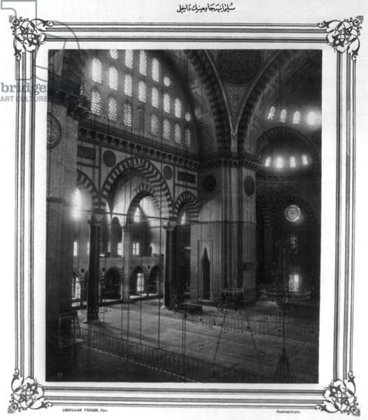 SULEYMANIYE MOSQUE Interior of the Ottoman imperial mosque in Istanbul, Turkey, built by Sultan Suleiman I, 16th century. Photograph, c.1890.