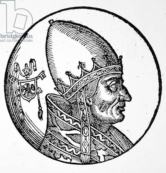 POPE INNOCENT III (1161-1216) Pope, 1198-1216. Woodcut, Italian, 1592.